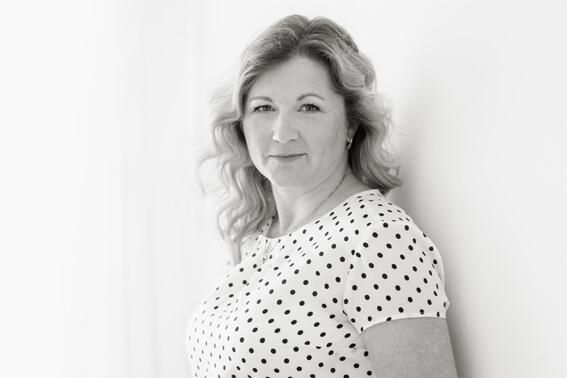 A black and white portrait of Markéta Demlová
